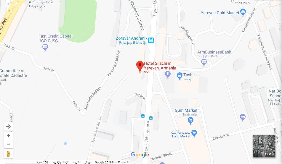 مکتن هتل سیلاچی بر روی نقشه گوگل
