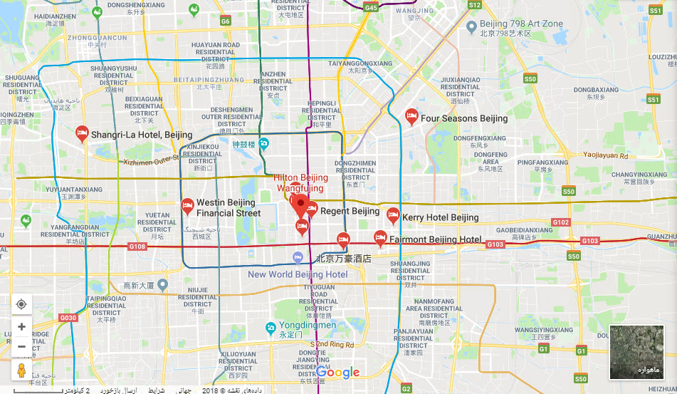 مکان هتل هیلتون بیجینگ بر روی نقشه گوگل