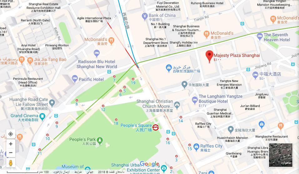مکان هتل مجستی پلازا بر روی نقشه گوگل
