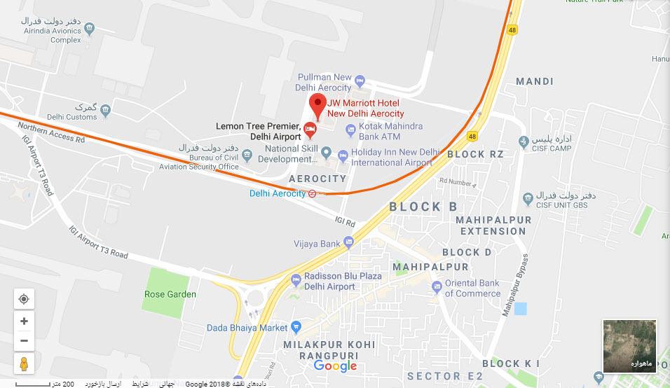 مکان هتل جی دبلیو بر روی نقشه گوگل