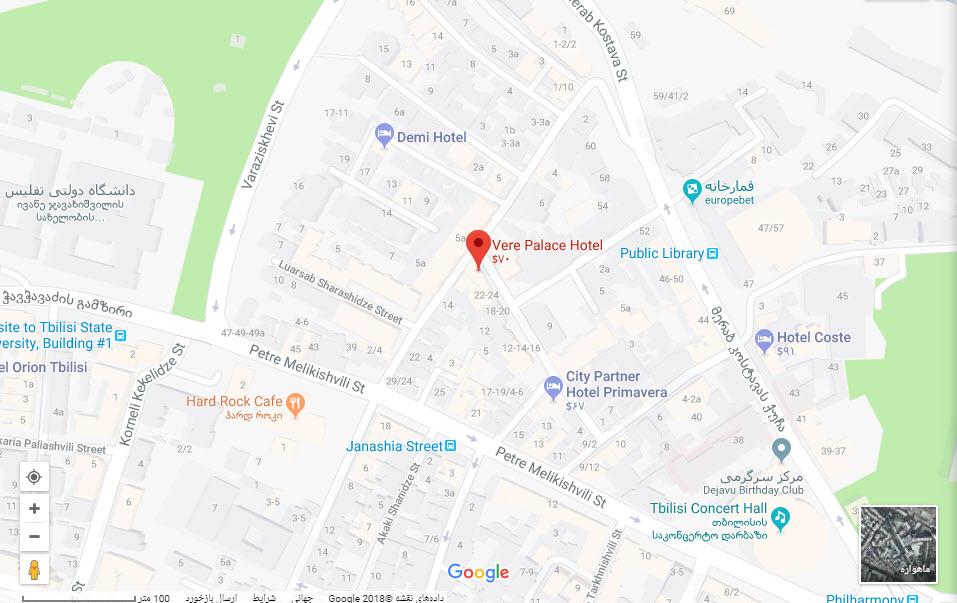 مکان هتل ورا پالاس بر روی نقشه گوگل