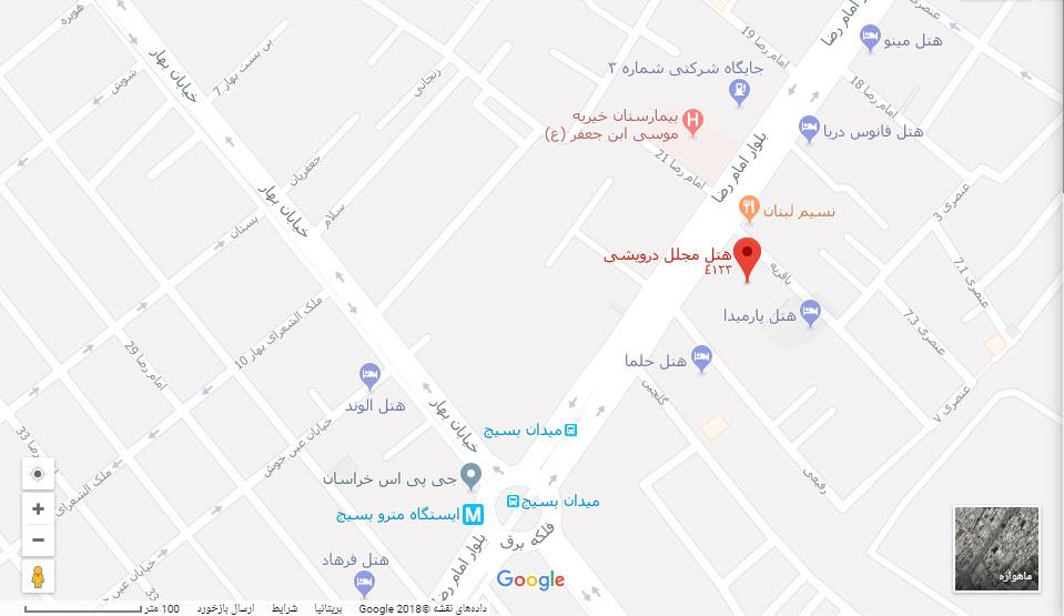 مکان هتل درویشی بر روی نقشه گوگل