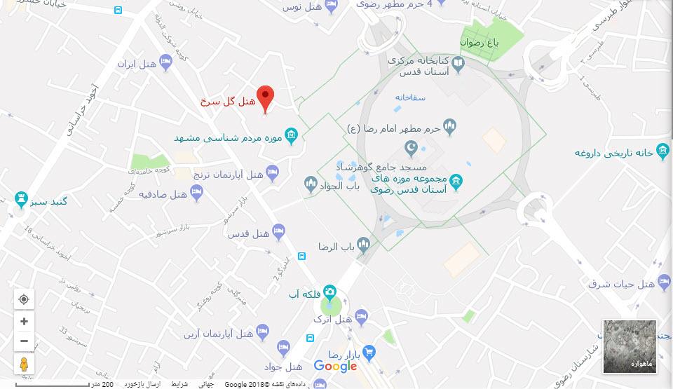 مکان هتل گل سرخ بر روی نقشه گوگل