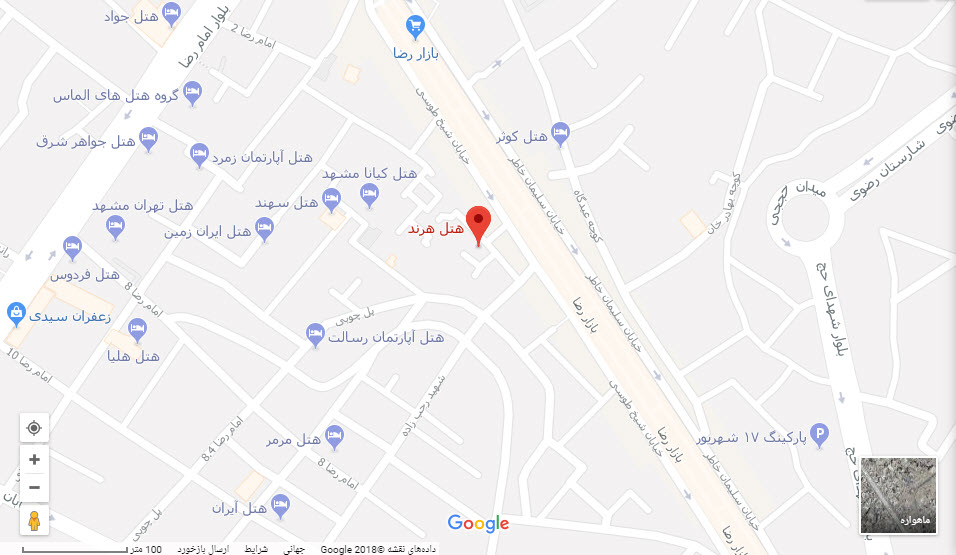 مکان هتل هرند بر روی نقشه گوگل