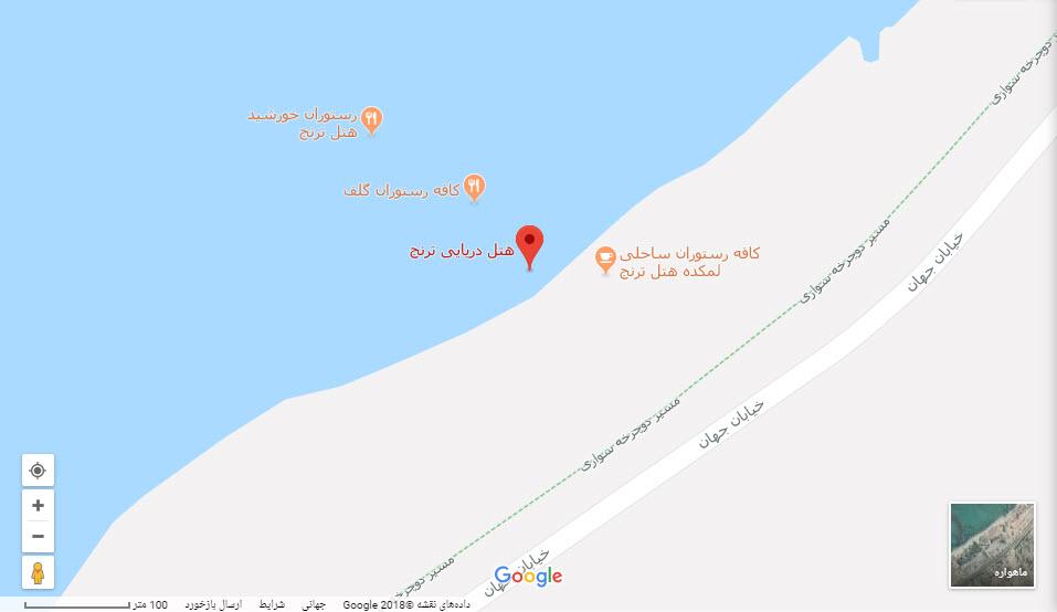 مکان هتل ترنج بر روی نقشه گوگل