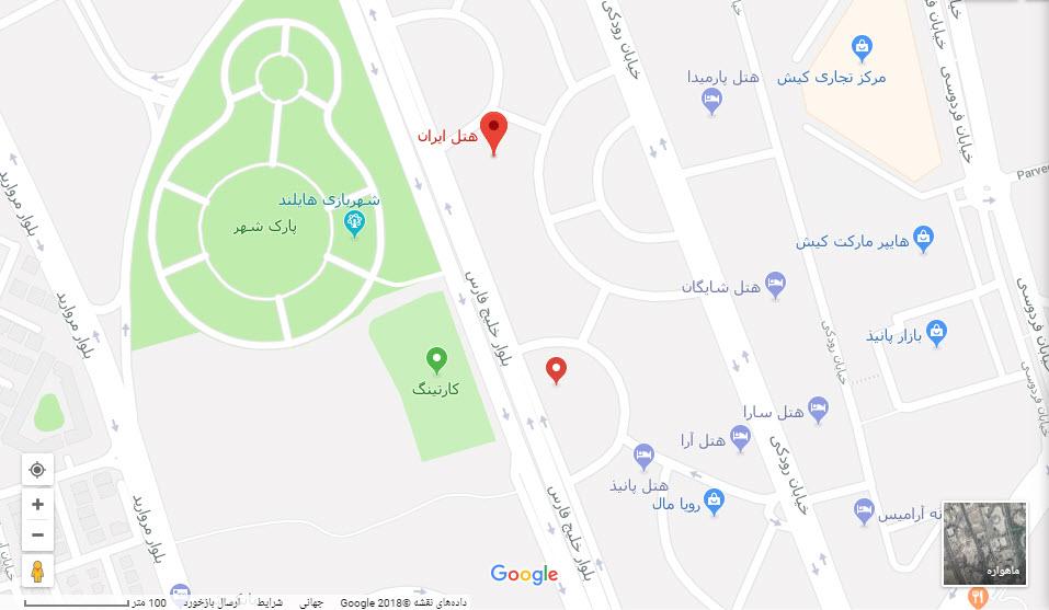 مکان هتل ایران بر روی نقشه گوگل