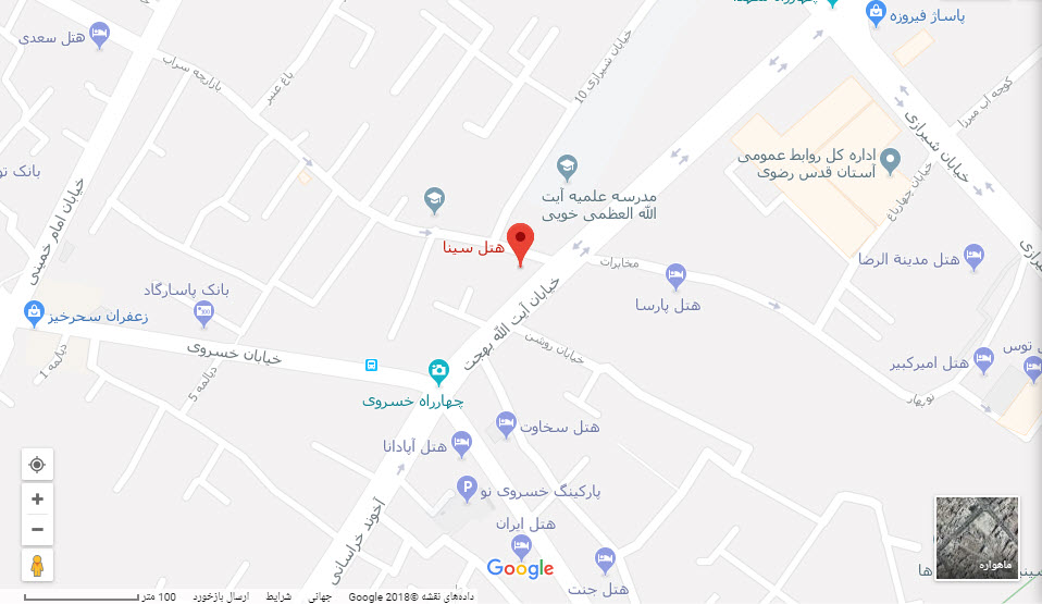 مکان هتل سینا بر روی نقشه گوگل