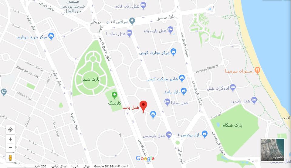مکان هتل پانیذ بر روی نقشه گوگل