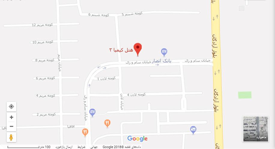 مکان هتل کیمیا3 بر روی نقشه گوگل
