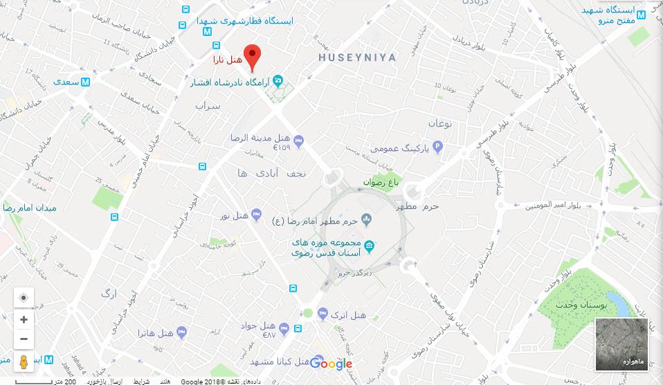 مکان هتل تارا بر روی تقشه گوگل