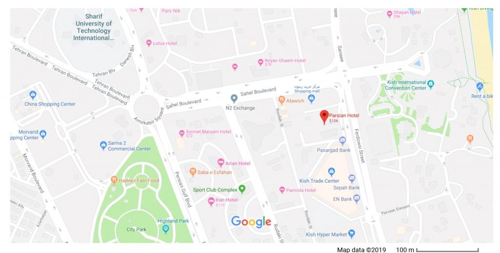 مکان هتل پارسیان بر روی نقشه گوگل
