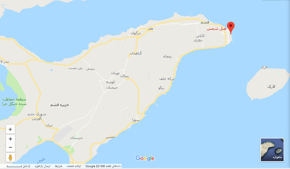 مکان هتل شمس بر روی نقشه گوگل