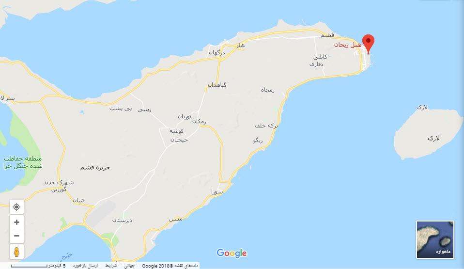 مکان هتل ریحان بر روی نقشه گوگل