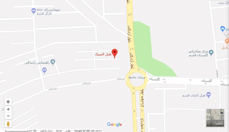 مکان هتل المپیک بر روی نقشه گوگل