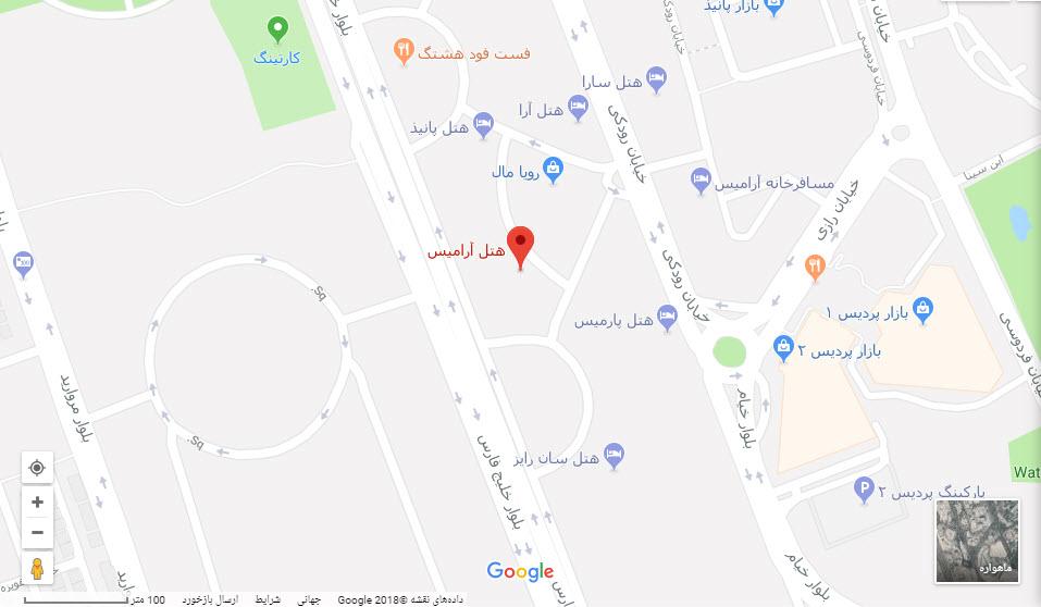مکان هتل آرامیس بر روی نقشه گوگل