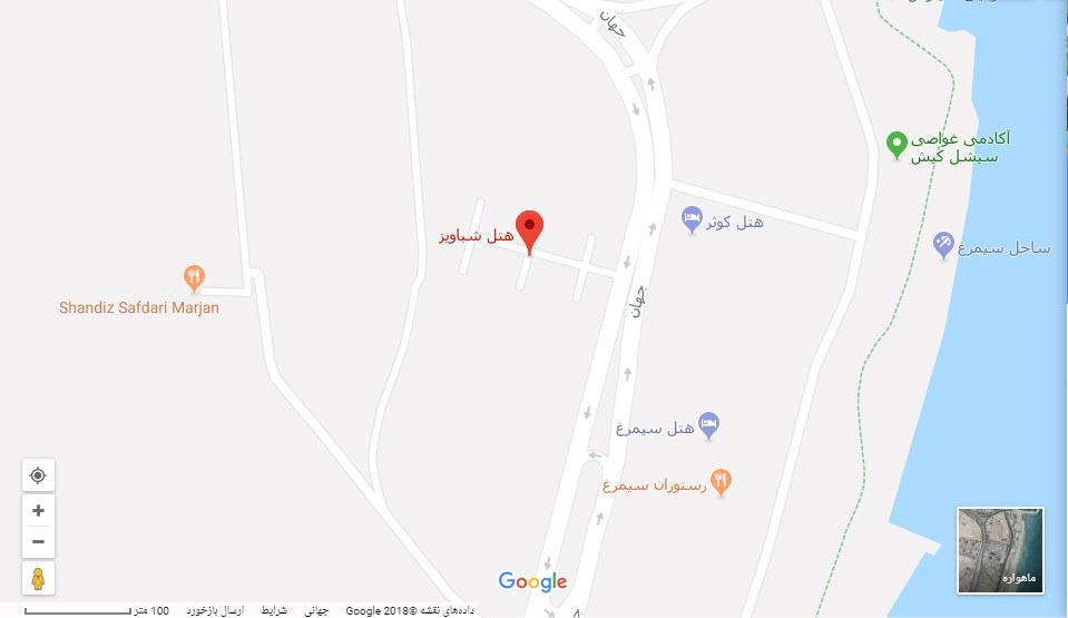 مکان هتل شباویز بر روی نقشه گوگل