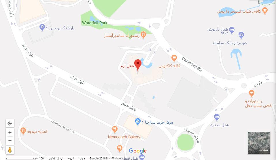 مکان هتل ارم بر  روی نقشه گوگل