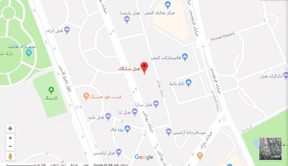 مکان هتل شایگان بر روی نقشه گوگل