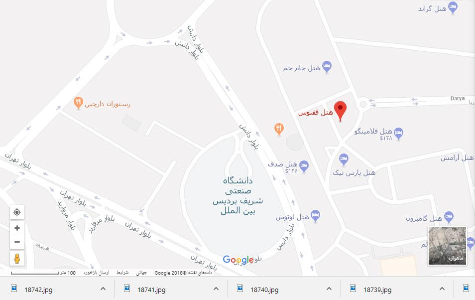 مکان هتل ققنوس بر روی نقشه گوگل