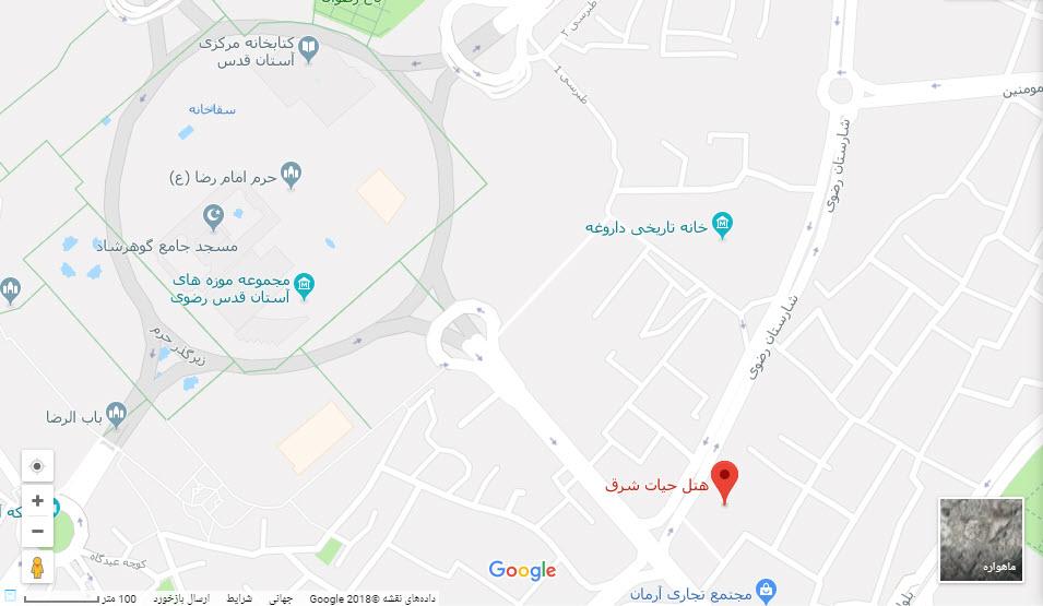 مکان هتل حیات شرق بر روی نقشه گوگل