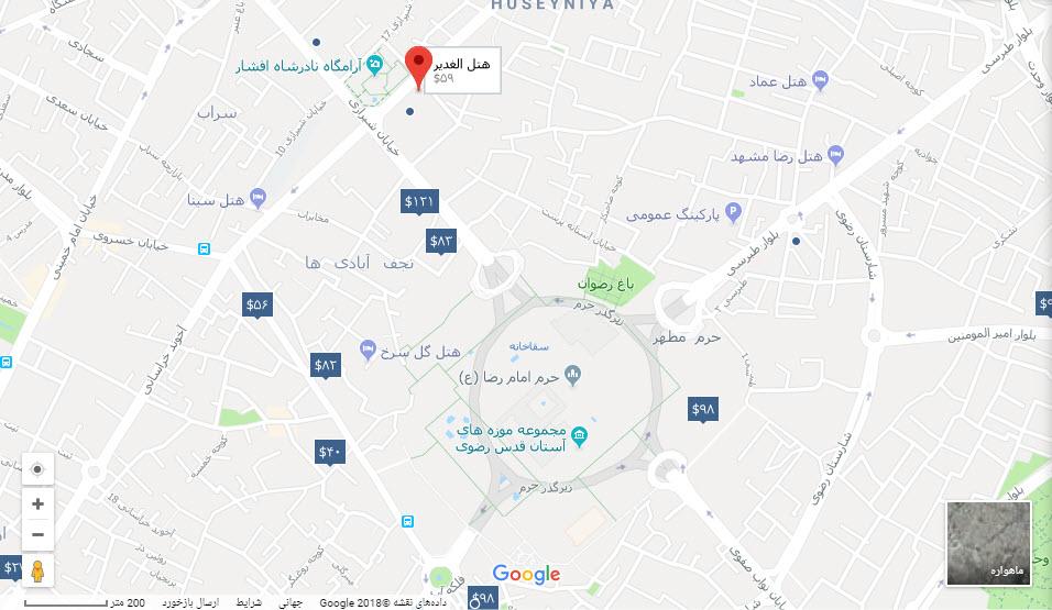 مکان هتل الغدیر بر روی نقشه گوگل