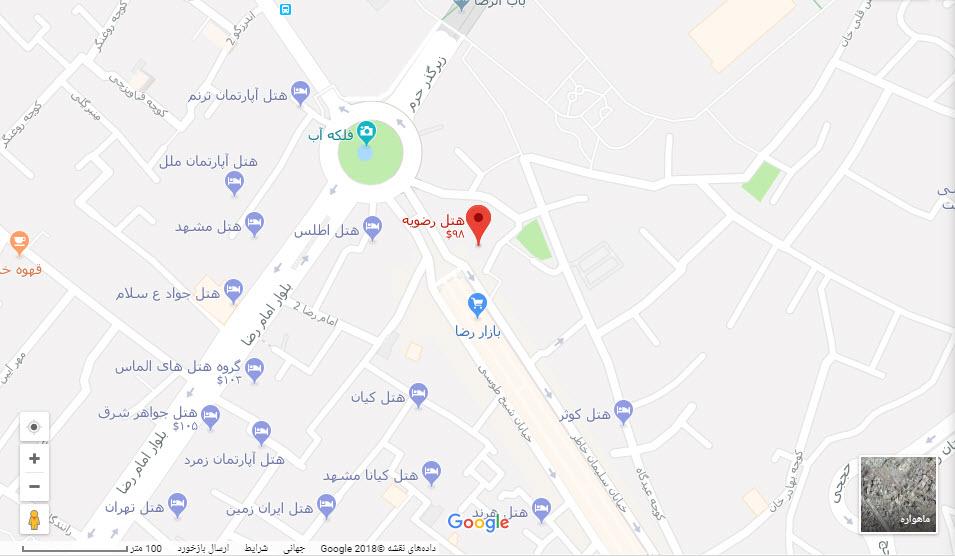 مکان هتل رضویه بر روی نقشه گوگل