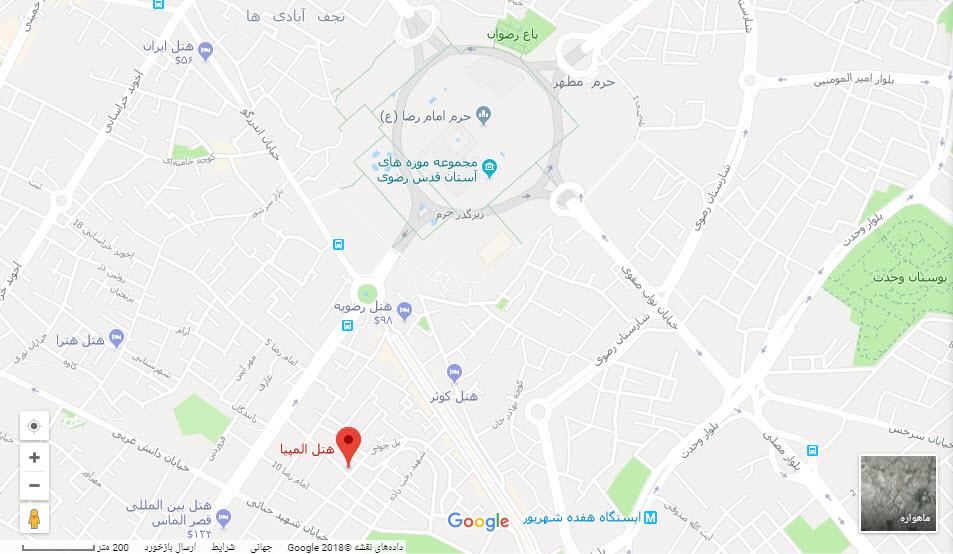 مکان هتل المپیا بر روی نقشه گوگل