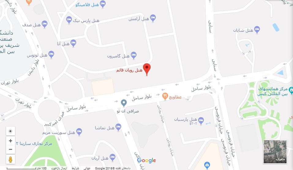 مکان هتل قائم بر روی نقشه گوگل