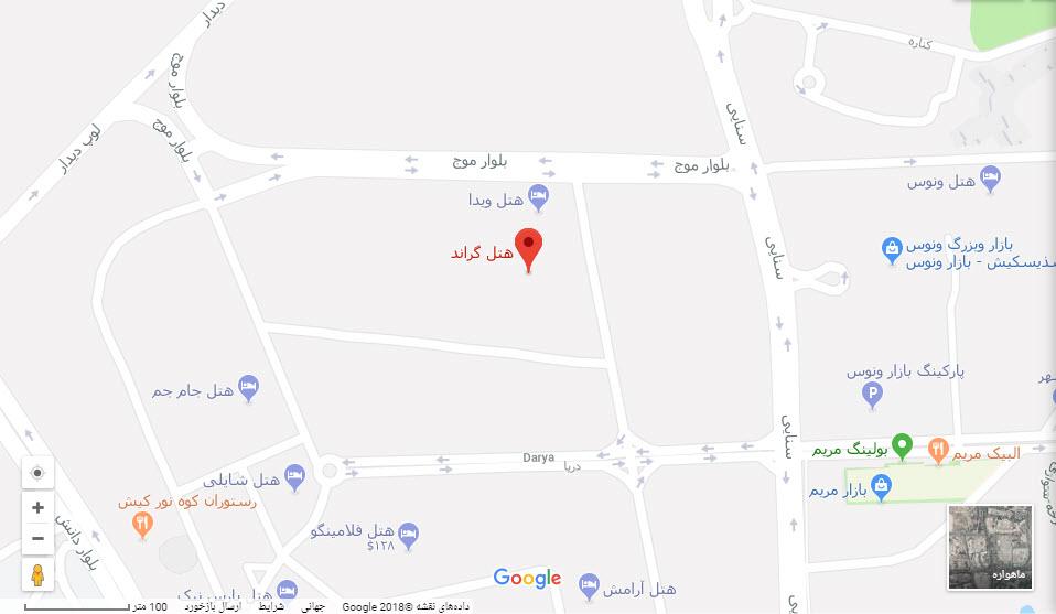 مکان گراند هتل بر روی نقشه گوگل