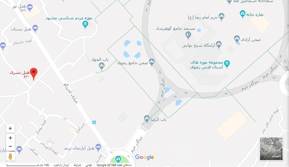 مکان هتل بشری بر روی نقشه گوگل