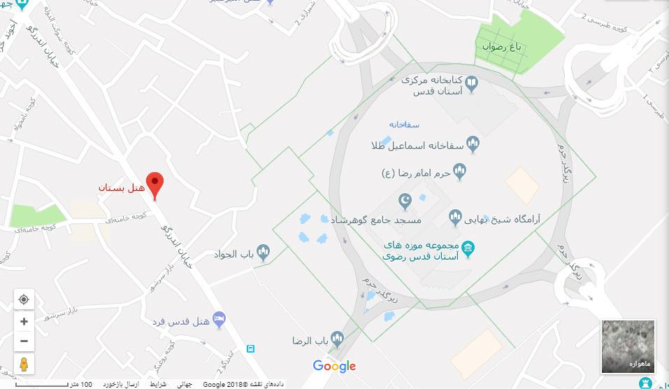 مکان هتل بستان بر روی نقشه گوگل