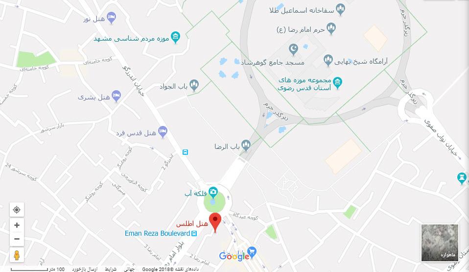 مکان هتل اطلس بر روی نقشه گوگل