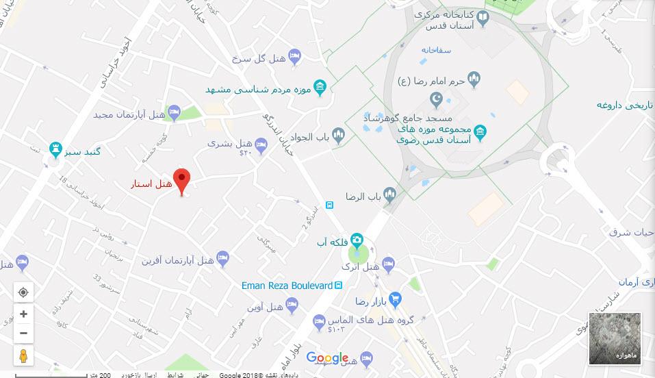 مکان هتل استار بر روی نقشه گوگل
