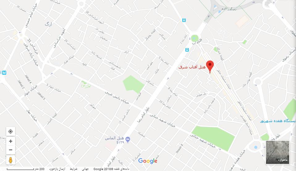 مکان هتل آفتاب شرق بر روی نقشه گوگل