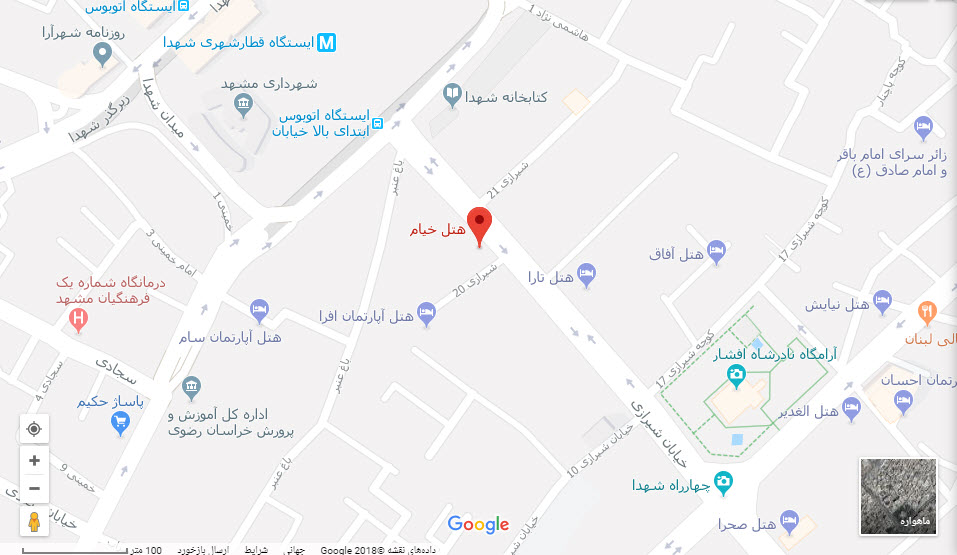 مکان هتل خیام بر روی نقشه گوگل
