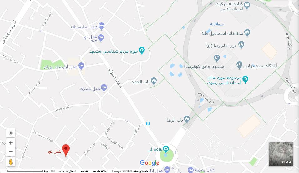 مکان هتل نور بر روی نقشه گوگل