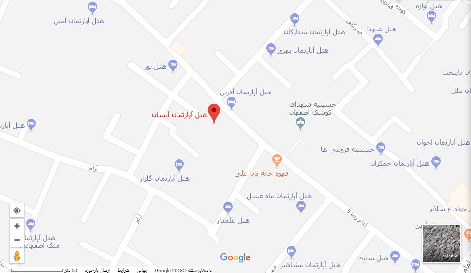 مکان هتل آیسان بر روی نقشه گوگل