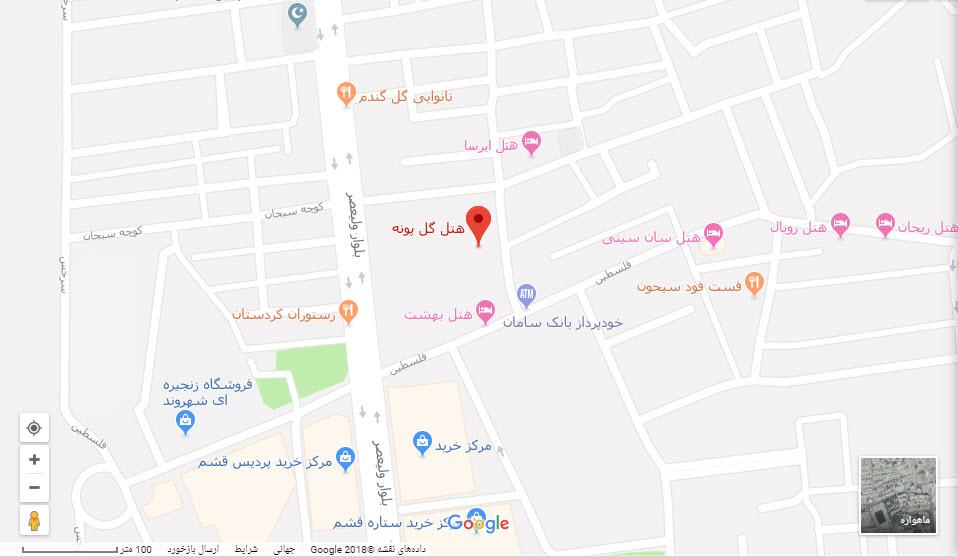 مکان هتل گل پونه بر روی نقشه گوگل