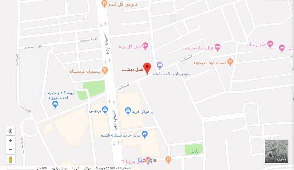 مکان هتل بهشت بر روی نقشه گوگل
