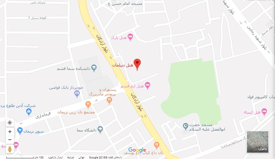 مکان هتل دیپلمات بر روی نقشه گوگل