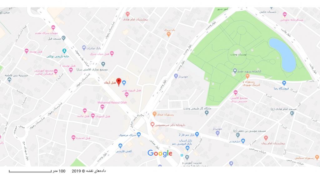 مکان هتل آرمان بر روی نقشه گوگل