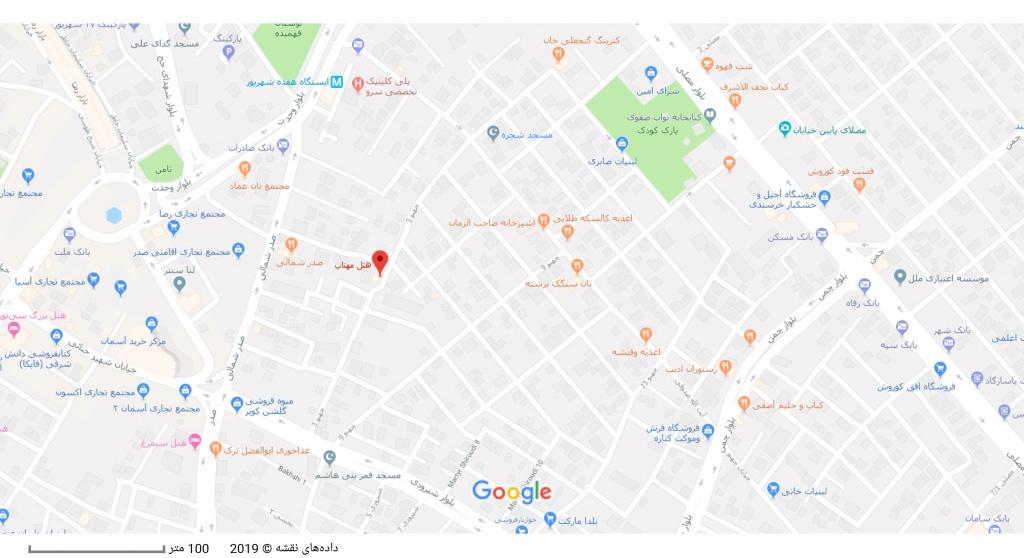 مکان هتل مهتاب بر روی نقشه گوگل