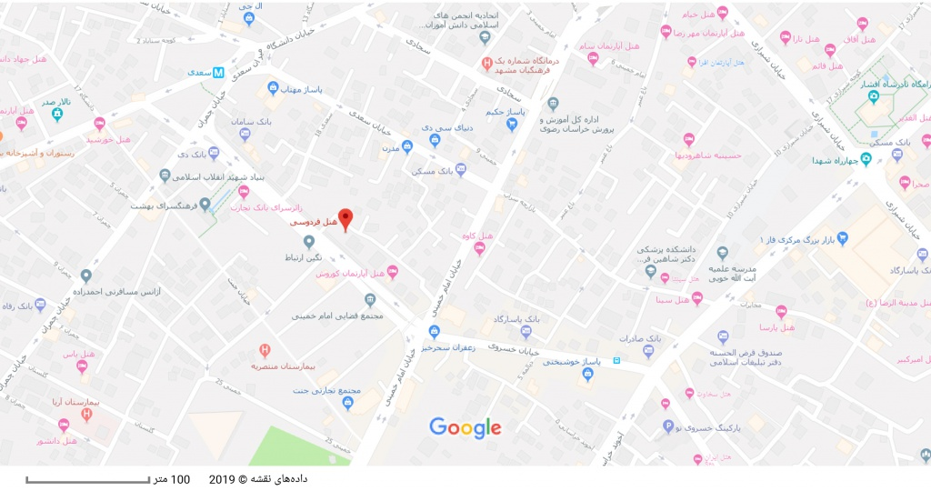 مکان هتل فردوسی بر روی نقشه گوگل